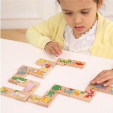 15Pcs Wooden Animals Bricks Puzzle Baby Developmental Domino Game Toy C