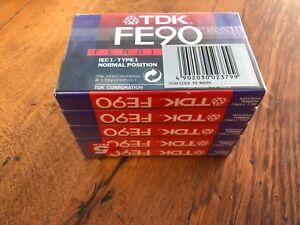 tdk fe90 ( 5 pack ) + tdk d 90 ( 5 pack ) + 2 x d90s plus basf 90 cassette . new