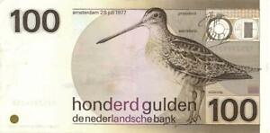Netherlands 100 Gulden Currency Banknote 1977