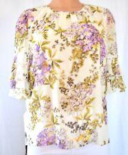 7c39375a9 Gambattista con Volantes Seda Multicolor Estampado Floral Cuello Redondo  Blusa