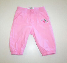 Infant Girl's OshKosh Embroidered Pink Cotton Pants 3 months