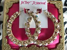 Betsey Johnson HUGE Granny Chic Gold Pearl Multi-Color Crystal Hoop Earrings $55