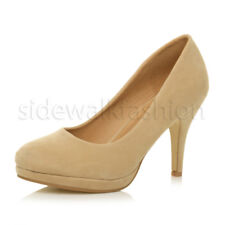 Womens Ladies Mid High Heel Platform Party Work Evening Court Shoes PUMPS Size UK 5 / EU 38 / US 7 Nude Suede