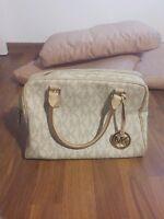 Tasche, Handtasche, henkel, braun, beige, creme, gold, Michael kors