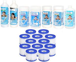 Lay Z Spa Starter Kit 12 Filters, Algaecide, Chlorine, pH+, pH-, Foam, Clarifier