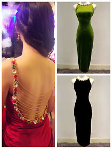 Sexy Women Crystal Backless Split Back Chain Bodycon Velvet Party Occasion Dress