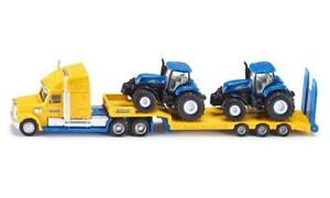 SIKU (1805) 1:87 Scale Toy HGV Low Loader & 2 New Holland T7070 Tractors - BA