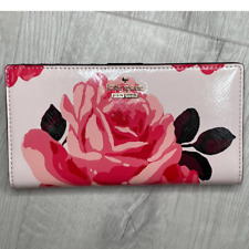 Kate Spade Cameron Street Roses Stacy Medium  Leather Bifold Wallet Pink Sand