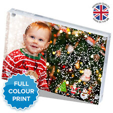 """Christmas Personalised Acrylic Photo Snow Block Picture Gift Present 