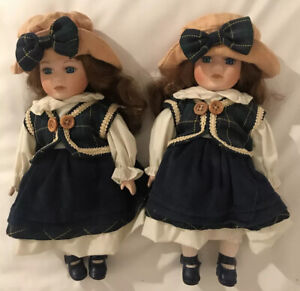 """Vintage Style Twin China Dolls, Approx 10"""" Tall. Used For Decoration Only."""