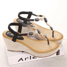 Womens Low Wedge Heel Diamante Sandals Ladies Toe Post Summer Slingback Size 3-7