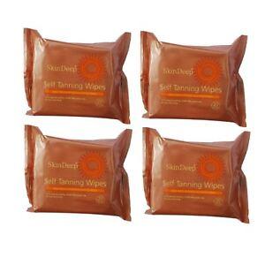 4 X Skin Deep Self Fake Tan SELFTAN WIPES For A Streak Free Natural Tan