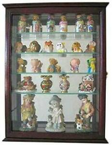 Wall Mounted Curio Cabinet Display Cupboard Glass Shelves Door Mirrored Back New