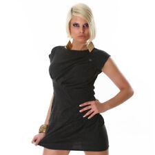 Sexy Minikleid Strickkleid Mini kurzes Kleid Kurzarm mit Knöpfen Grau Gr. M