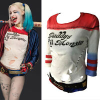 Handmade Ripped Hole Harley Quinn Daddy's Lil Monster T-shirt Suicide Squad Top