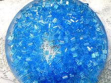 Vtg 50 grams = approx 500 AQUAMARINE BLUE PILLOW GLASS BEADS 3X5mm 072513v