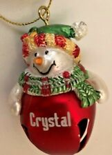 """Red 2"""" Personalized Crystal Snowman Ornament Figurine Bell"""