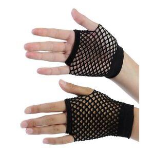 80s Fancy Dress Fingerless Fishnet Gloves Black or Pink available