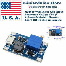 MT3608 MICRO USB DC-DC Voltage Step Up Adjustable Boost Converter Module 2A 2-24