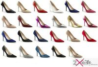 "PLEASER CLASSIQUE 20 4"" STILETTO HIGH HEEL POINTED COURT SHOES SIZES 3-13"