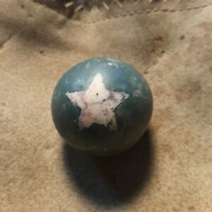 ANTIQUE 1800s CIVIL WAR ERA  BLUE CLAY MARBLE WITH STAR.....VERY OLD
