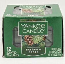 Yankee Candle Balsam & Cedar Scented Tea Lights. New Box of 12 New Christmas