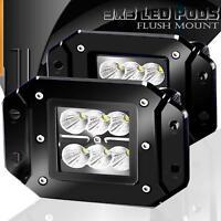"""2x 4inch Bumper LED Work Light Pods Flush Mount Flood Driving Fog Lamp 12V 5"""""""