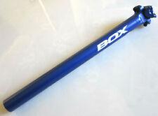 BOX BLUE ALLOY SEATPOST 31.6mm dia 400mm length zero offset bmx mtb seat post