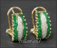 Brillant & Smaragd Ohrstecker mit 2,75ct, aus 5,3 Gramm 585 Gold, Clip Ohrringe