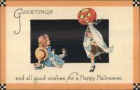 Halloween Boy & Girl Play JOL Ghost Costume GIBSON c1915 Postcard EXC COND