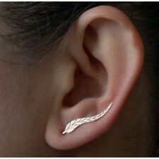 Ladies Vintage Silver / Gold Plated Leaf Feather Stud Climbing Boho Earrings