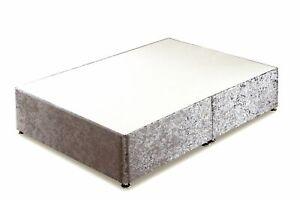 Silver Velvet Divan Bed Base, single base, double base