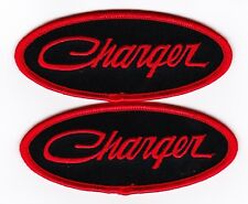 DODGE CHARGER SEW/IRON ON PATCH EMBLEM BADGE EMBROIDERED MOPAR HEMI BLACK RED