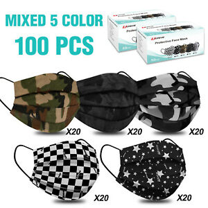 ( Mixed 5 Color ) 100 Pack Disposable 4 Layers Protective Face Masks For Adult