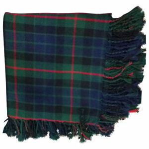 Men's Scottish Kilt Fly Plaid Gunn Modern Tartan 48 x 48 purled Fringe Acrylic
