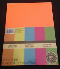"New Recollections 8.5x11"" Cardstock Paper South Beach Neon Colors  50 Sheets"
