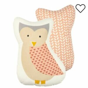 Primitives by Kathy Owl Shaped Pillow Baby Nursery Pink Cream Gray