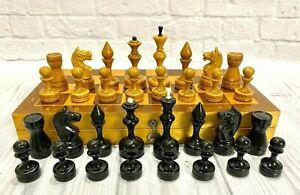 Wooden Chess USSR Full Set Grossmeister Vintage Soviet.King 8 cm 30X30 cm Russia