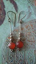 Carnelian Gemstone/Goldtone Brass NEW Drop Earrings Indian Jewellery Uk seller