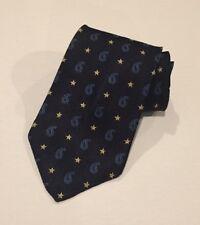 Tommy Hilfiger Italian Silk Necktie Navy Blue Paisley Stars Wide Neck Tie NWOT