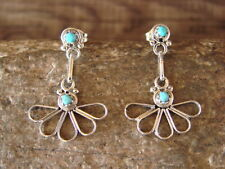 Small Zuni Indian Jewelry Sterling Silver Turquoise Post Earrings!