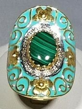 Diamond Malachite 18 kt. Gold Over Sterling Silver Cloisonne Ring 50% Off Sale