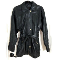 Tibor Womens Jacket Black Lambskin Leather Trench Coat Belted Vtg Zip Button S