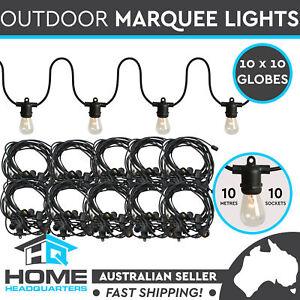 10m Festoon String Lights Marquee Retro Vintage Black Wedding Outdoor Set of 10