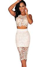 Abito ricamato top gonna pizzo nudo aderente Mini Lace Crop Top Skirt Set M