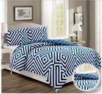 Aztec Geometric Bed Linen Double Azure Blue Duvet Cover Reversible Bedding Set