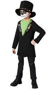 Boys Day of the Dead Costume Mexican Skeleton Child Halloween Fancy Dress Outfit