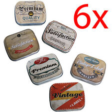 6 x Scheda di Storage Bag TIN pillola CASE VINTAGE CON FERRO REGALO PORTAGIOIE MINI