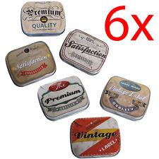 6 X TIN STORAGE BAG CARD PILL CASE VINTAGE RETRO IRON GIFT MINI JEWELLERY BOX
