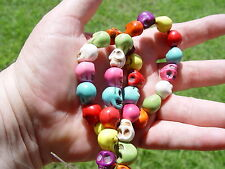 32 x SKULL BEADS STRAND - LOOSE SYNTHETIC TURQUOISE -  Wicca Pagan Witch Goth